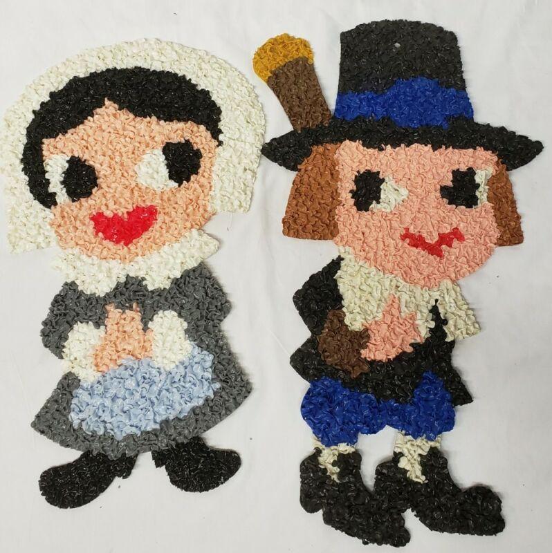 "vtg Melted Popcorn Plastic Thanksgiving Pilgrim figures man women decoration 21"""