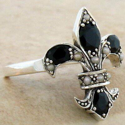 GENUINE BLACK ONYX FLEUR-DE-LIS VICTORIAN 925 STERLING SILVER RING SZ 10, #593 10 Genuine Onyx Ring