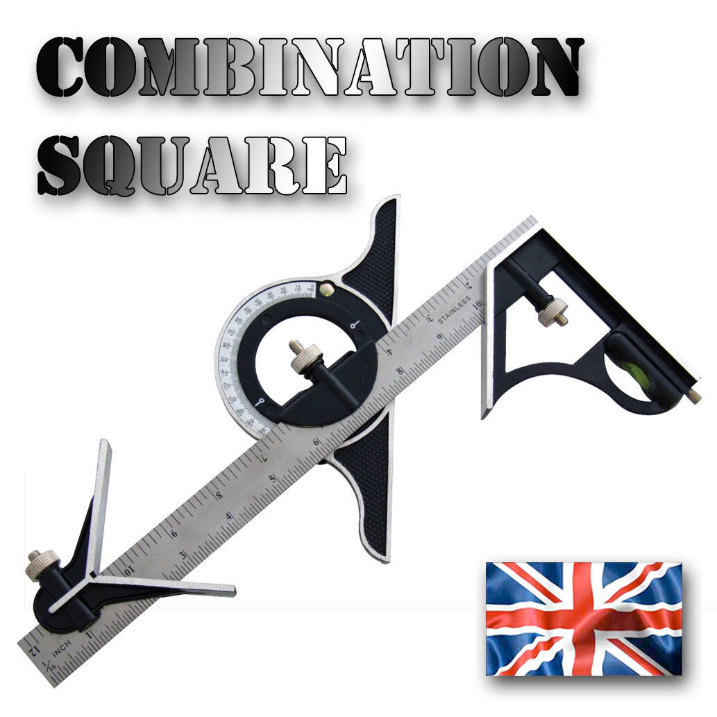 Combination Square Set  Angle Finder & Protractor Spirit Level Steel Ruler Mitre