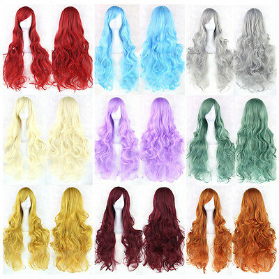 31.5 inch Curly Long Full Wavy Wig Anime Cosplay Halloween Wigs for - Cheap Hair Extensions For Halloween