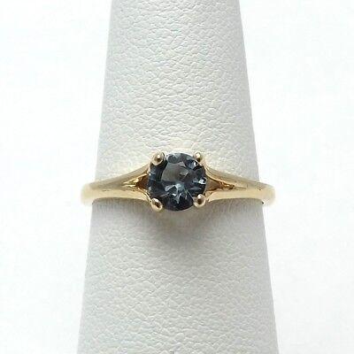 14K Gold 1/2 ct Round Natural Blue Zircon December Birthstone Ring Sz 6