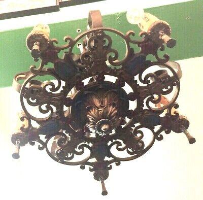 Art Deco Chandelier Ceiling Light Fixture 6 Light Polychrome Mission ()