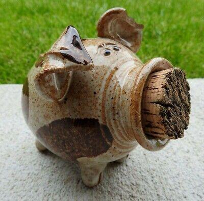 Vintage Pottery Stoneware Folk Art Pig Cork Nose Snout Piggy Bank Marked