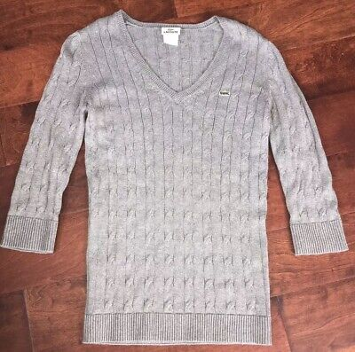 Lacoste Women's 38 Pullover Sweater V Neck Gray 100% Cotton Soft 3/4 Sleeve