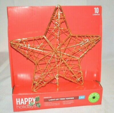 """NEW CHRISTMAS LED Light UP Metal STAR TREE Topper DECOR Indoor 8"""" H 9"""" W Battery"""