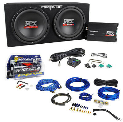 "MTX Terminator TNP212D2 Dual 12"" Subwoofers+Enclosure+Amp Kit+2 Farad Capacitor"