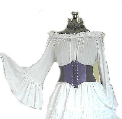 PURPLE RENAISSANCE STEAMPUNK COSTUME UNDERBUST CORSET PIRATE WENCH WAIST CINCHER - Purple Renaissance Costumes