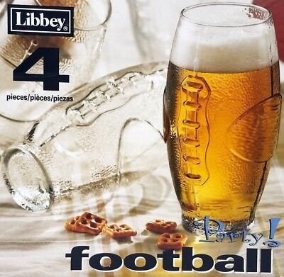 Libbey Tumbler Set (Libbey Set of 4 Football Sports Beer Drink Tumbler 23 Ounce Glasses New In Box)