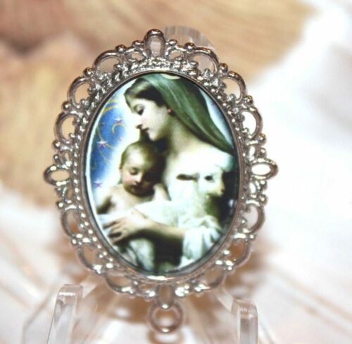 Mary with Her Lamb Rosary Center |Choice of Antique Silver| Antique Gold| Bronze