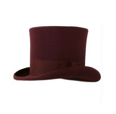 New Premium 100% Wool Burgundy Top Hat Halloween Steampunk Victorian Costume (Top 100 Halloween Costumes)