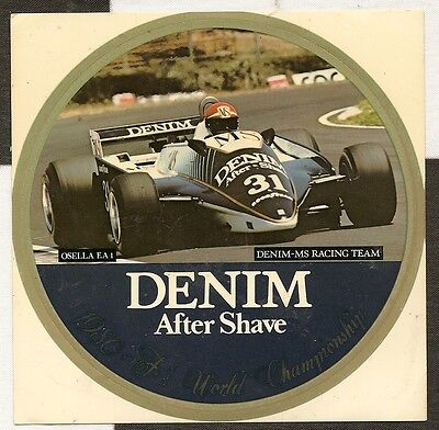 DENIM MS AFTER SHAVE OSELLA FA1 F1 TEAM 1980 ORIGINAL PERIOD STICKER AUTOCOLLANT
