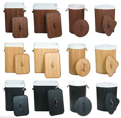 Wäschekorb Wäschesammler Wäschetruhe Bambus - 100L 70L Rund Eckig - freie