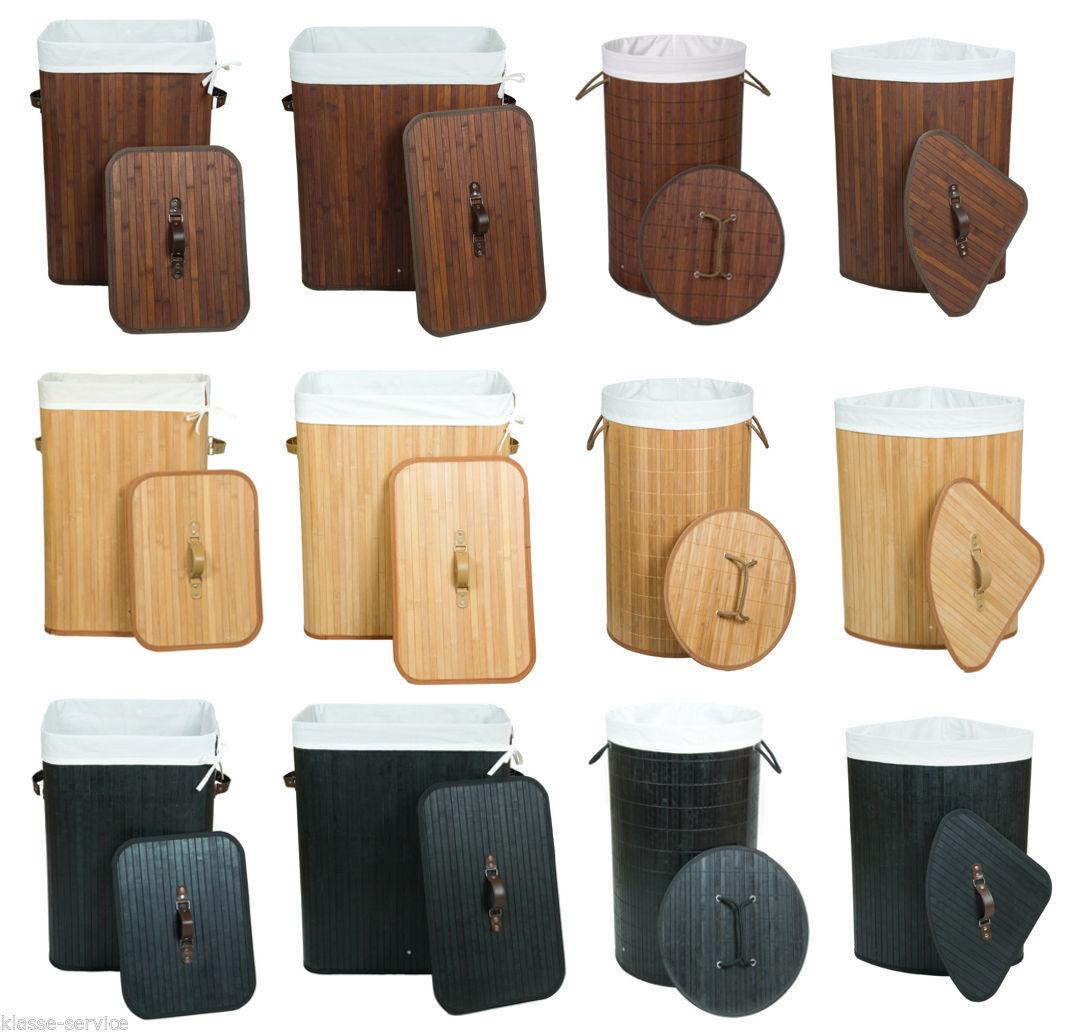 Wäschekorb Wäschesammler Wäschetruhe Bambus - 100L 70L Rund Eckig - freie Wahl