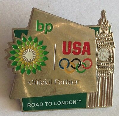 Bp Petrol Official Partner Usa Olympic Team Big Ben London Pin Badge Rare  F3