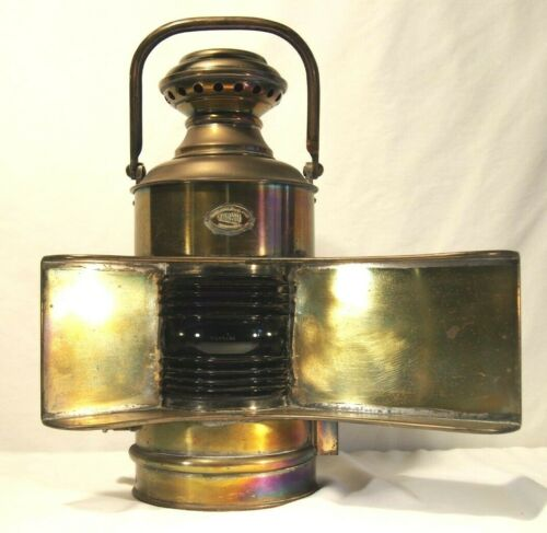 Vintage Large Perko Brass Nautical Lamp unusual reflector Blue Lens Handle