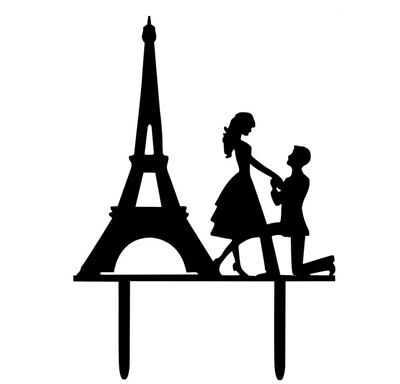 PARIS ENGAGEMENT CAKE TOPPER-BLACK ACRYLIC EIFFEL TOWER-WEDDING PROPOSAL MR/MRS