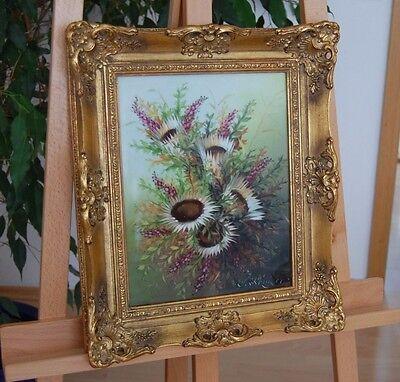 "Original Porzellangemälde Wildblumenstrauß 2. H. 20. Jh. Sign. ""S. Röniger""."