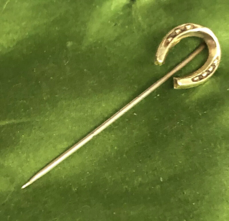 Vintage Jewellery Lovely Victorian Pinchbeck Horseshoe Tie Or Lapel Pin