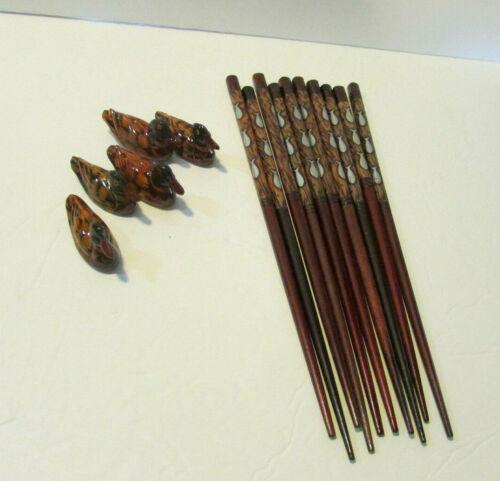set of 5 chopsticks fish design with duck rest