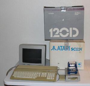 Atari 1040ST, SC1224 Monitor, Printer, Manuals, Accessories and Disks, Tested