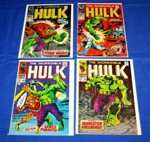 The Incredible Hulk Lot of 4 comics #103,105,106,108 Bronze Age Key