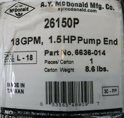 A.y. Mcdonald Part 6636-014 1.5hp Submersible Well Pump End Free Shipping