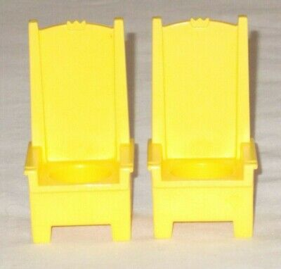 Vintage Fisher Price Little People 993 Yellow Throne Chair Chairs Pair Set