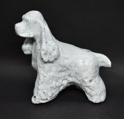 Cast Metal Cocker Spaniel Figurine Painted White