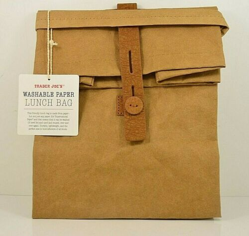 """Trader Joe's Reusable Washable Paper Lunch/ Accessory Bag Eco 11"""" X 7"""" X 8.75"""""""
