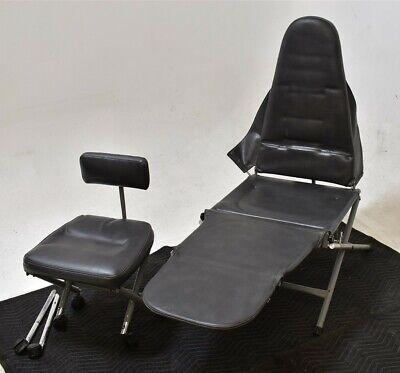 Aseptico Dental Slate-gray Vinyl Exam Chair W Matching Doctor Stool