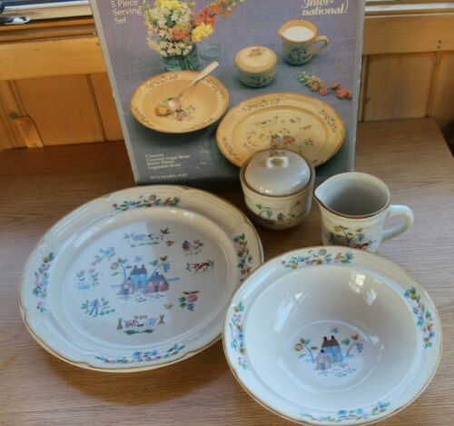 Heartland Farm Scene 5 Piece Serving Set Dishes...International China Company..