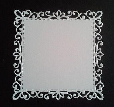 10 Decorative Edge Square Die Cuts#4--10.5cms In White Card