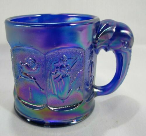 Elephant Handle Nursery Rhyme Characters Cobalt Blue Carnival Glass Child Cup