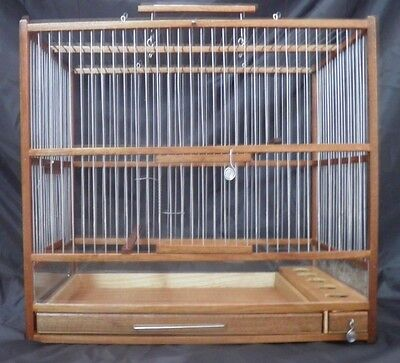 Slide Out Tray, Plexiglas // Hand Crafted Big  Wooden Bird Cage;