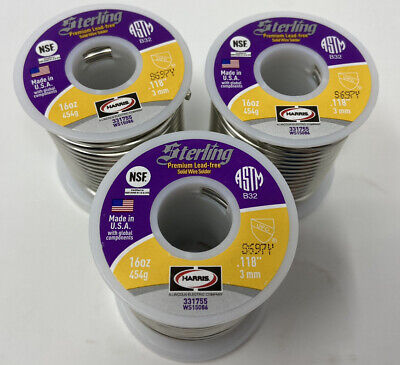 3 1 Pounds Of Harris Sterling Lead-free Solid Wire Solder Total Of 3 Pounds