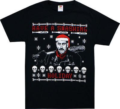 Walking Dead Negan Have A Smashing Holiday Christmas Santa Bat Adult T Tee Shirt