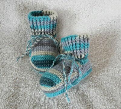 Babyschuhe * gehäkelt * Schurwolle, blau, grau, wollweiß Gr. 17 (10 cm) - NEU