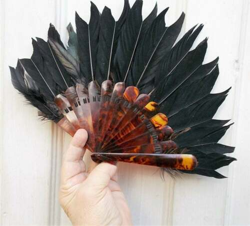 "1880 Faux Tortoise Shell Fan Victorian Black Ostrich Feathers Rare 12"" Ladies Ha"
