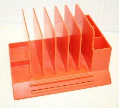 Vintage Max Klein Plastic Orange Desk Table Letter Office Pen Bills Organizer