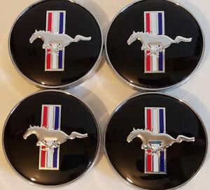 4X 60MM FORD MUSTANG COBRA GT MACH RUNNING HORSE WHEEL RIM HUB CENTER CAPS