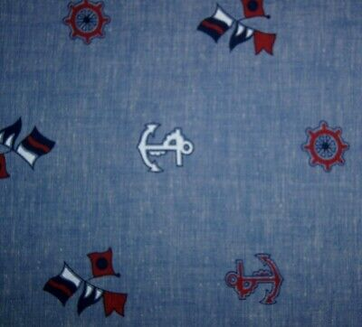 1+ Yard Anchors Flags Ship Wheels on Blue Cotton Quilting Fabric 51