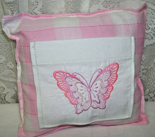 Handmade Pink and White Check Tooth Fairy Pillow with Pocket in Front