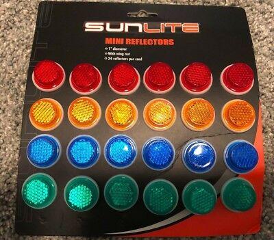2- Blue Orange Green or Red Sunlite 1 inch Safety Reflectors Bike License Plate