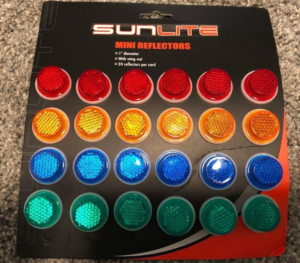 2- Blue Orange Green or Red Sunlite 1 inch Safety Reflectors