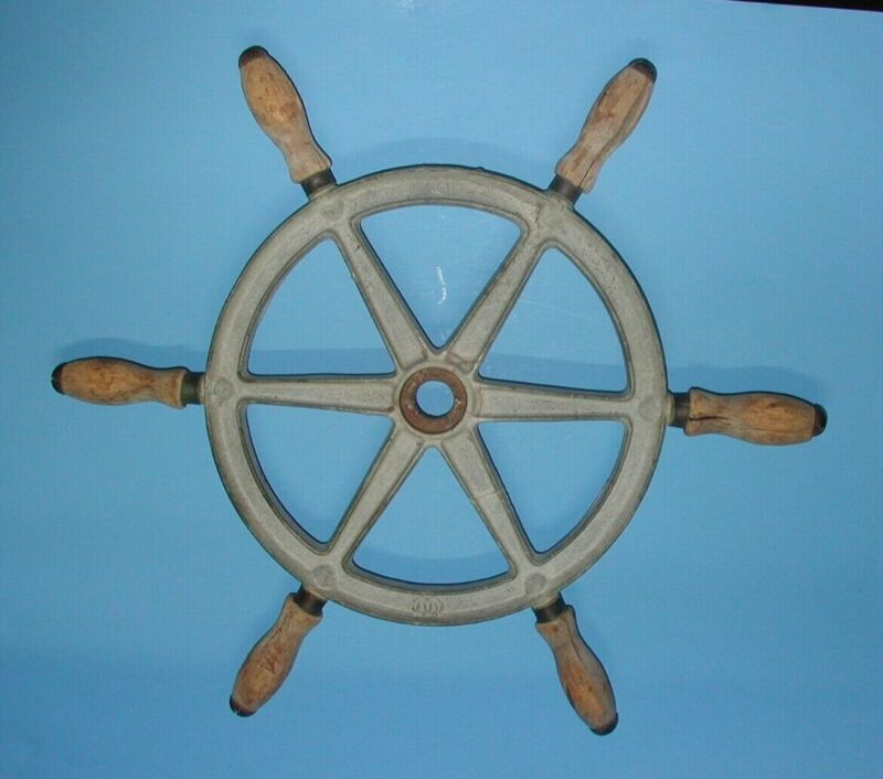 "Antique Vintage WC Wilcox Crittenden Boat Ship Steering Wheel 16"" Cast Iron Wood"