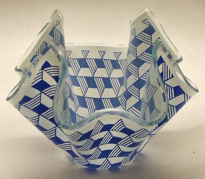 A vintage small Chance glass handkerchief vase - blue Carre / Escher pattern