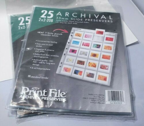 Print File Archival Preservers 25 2x2-20B 35mm Slide Heavyweight 8-mil USA New