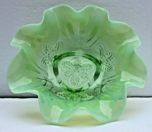 Victorian Jefferson Glass Opalescent Green Footed Bowl Ruffled Rim