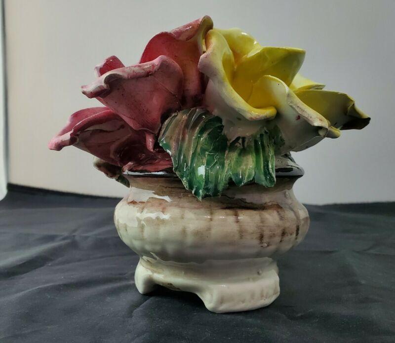 Vintage Capodimonte Porcelain Centerpiece Basket Bouquet Of Roses flower vase.