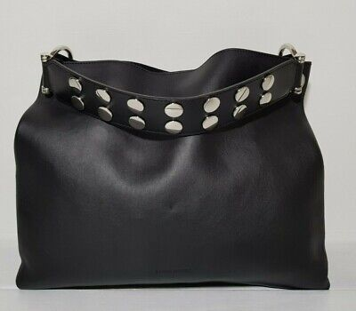 NEW COSTUME NATIONAL WOMEN'S SHOULDER BAG WITH WALLET BLACK WITH STUDS Costume National Womens Bag